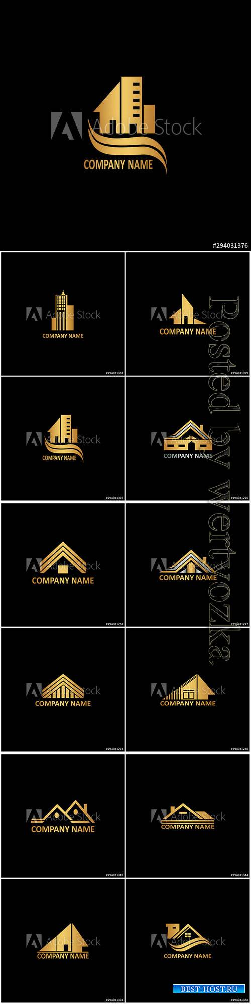 Golden abstract building logo icon vector design concept