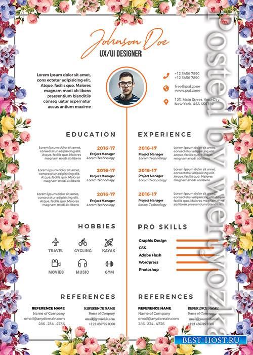 Beautiful Resume Design - Premium flyer psd template