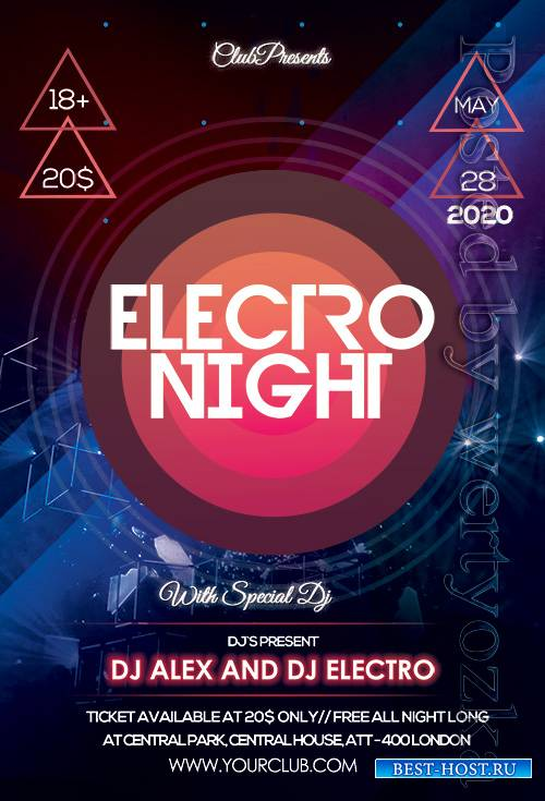 Electro, Night, Premium, flyer, psd, template