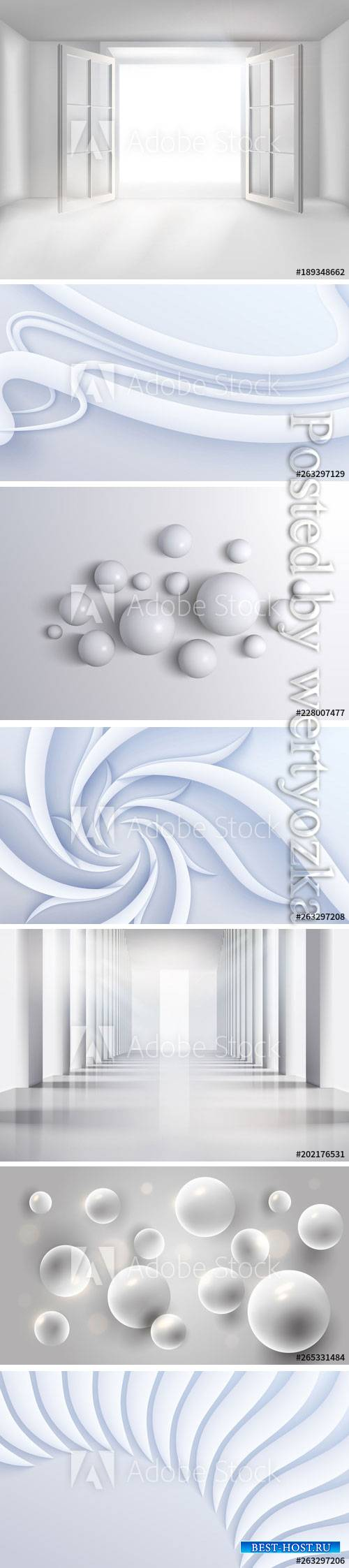 White abstract backgrounds with 3D effect