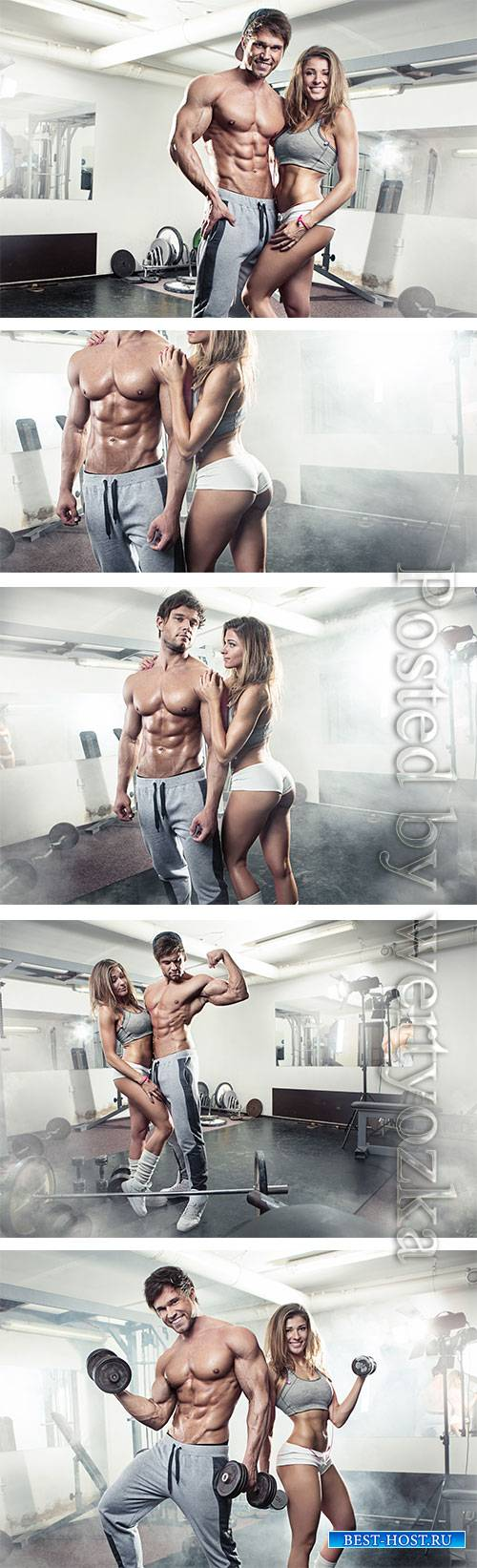 Girl and man in the gym