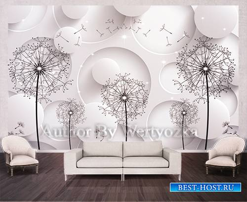 Dandelion background wall decors, 3D models template PSD