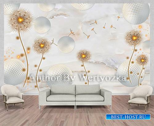 Gold dandelion background wall decors, 3D models template PSD