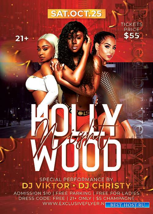 Hollywood nights - Premium flyer psd template