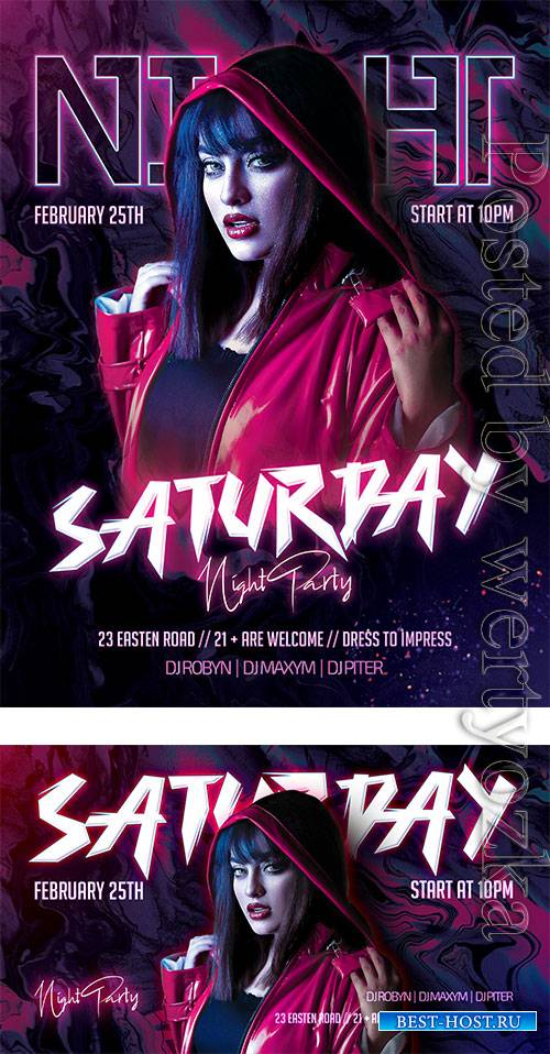 Saturday Party - Premium flyer psd template