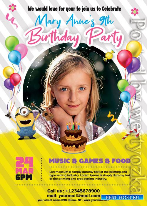 Kids Birthday Invitation - Premium flyer psd template