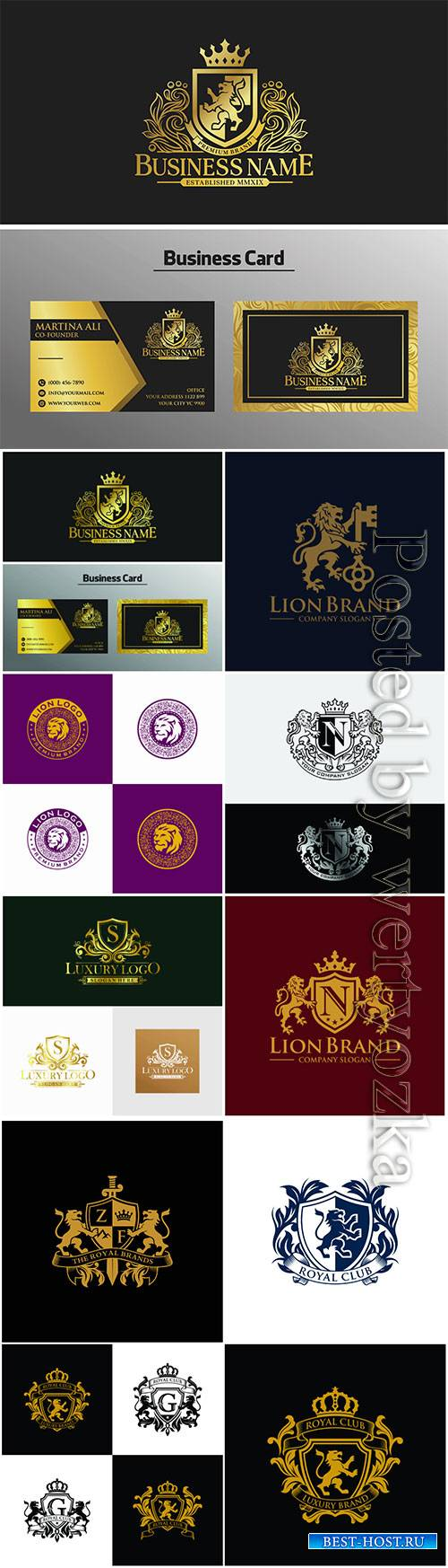 Golden luxury lion logo vector design