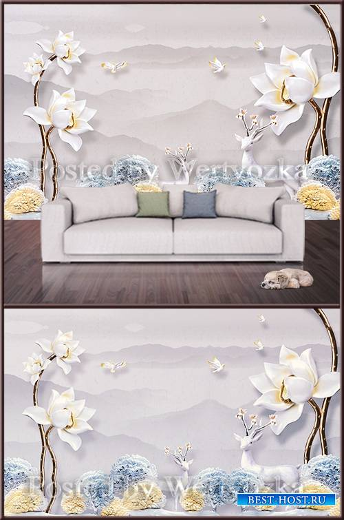 3D psd background wall peonies and deers