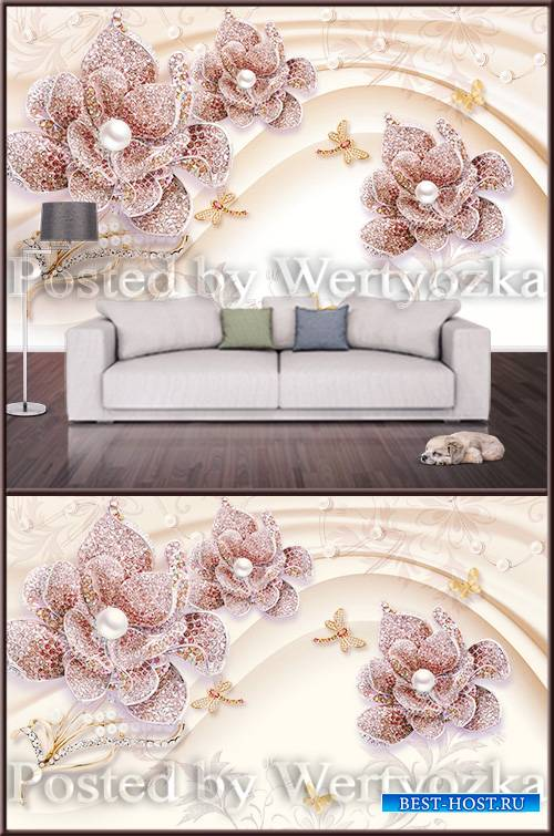 3D background wall jewelry flower with pearl