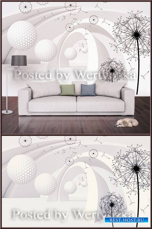 3D psd background wall dandelions and abstraction