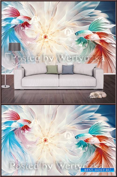 3D psd background wall beautiful fish