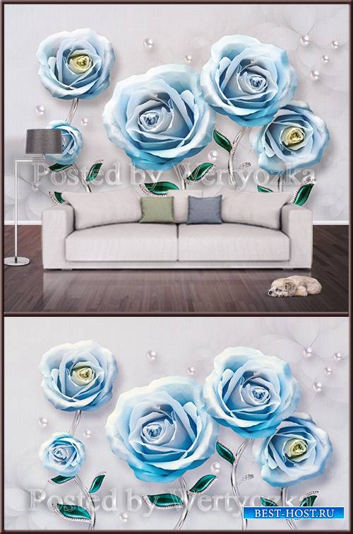 3D psd background wall blue roses