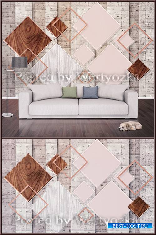 3D psd background wall modern geometric square