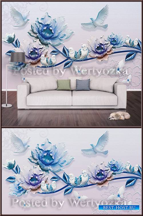 3D psd background wall flowers and pigeons