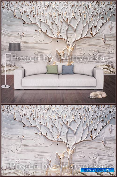 3D psd background wall deer and birds