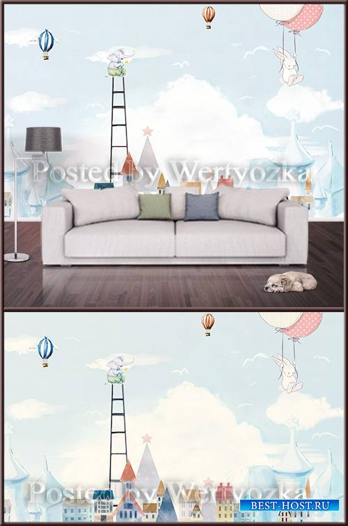 3D psd background wall cute colorful house