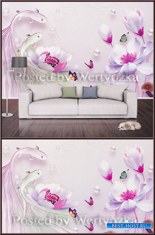 3D psd background wall magnolias and fish
