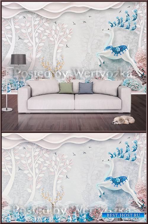 3D psd background wall beautiful deer