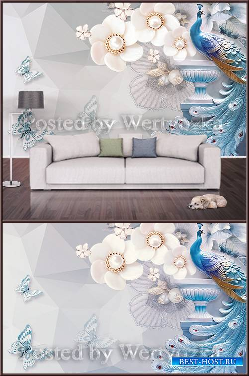 3D psd background wall peacock and butterflies