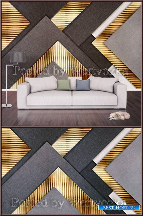 3D psd background wall golden geometric abstraction