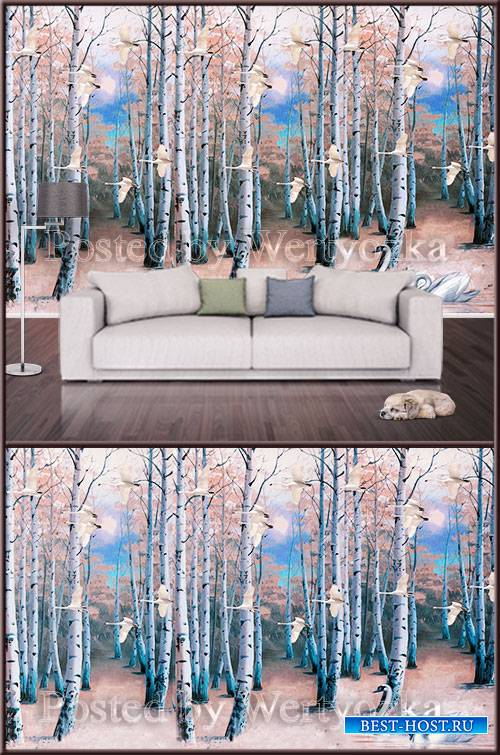 3D psd background wall birch forest