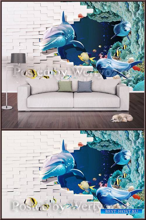3D psd background wall dolphins at the ruined wall