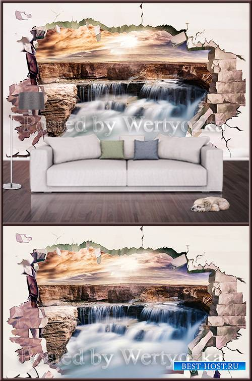 3D psd background wall waterfall and broken wall