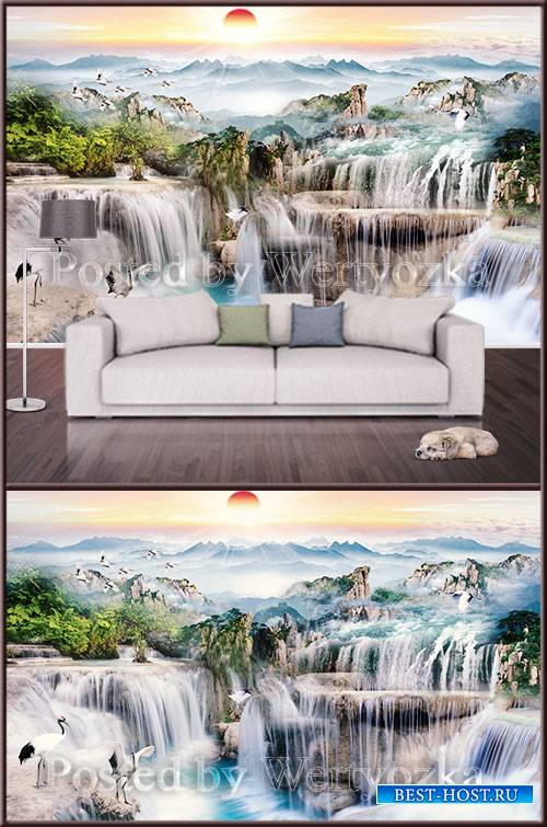 3D psd background wall waterfall  landscape