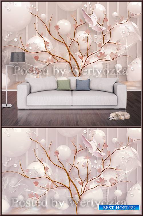 3D psd background wall tree and white pearl balls