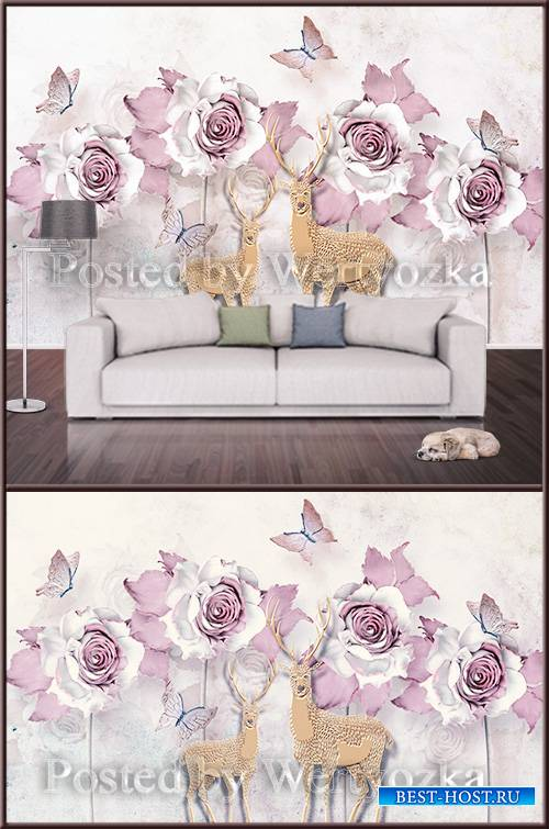 3D psd background wall deer and roses