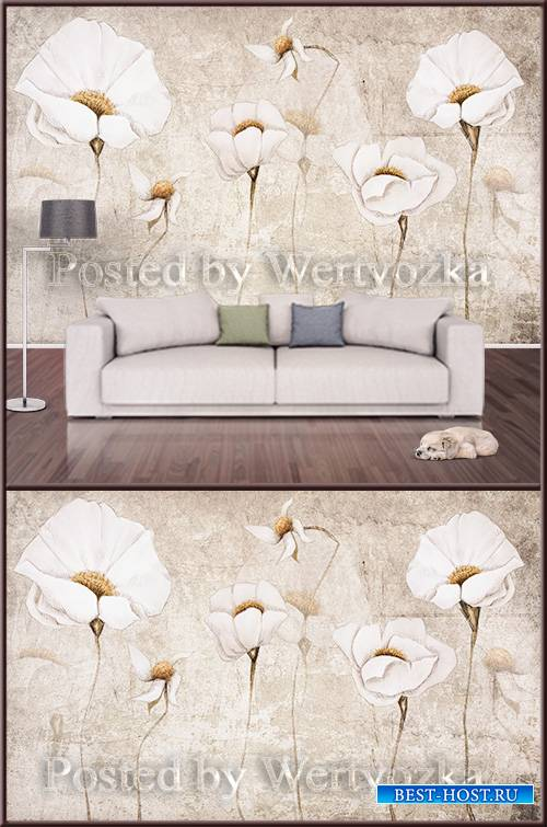 3D psd background wall vintage white flowers