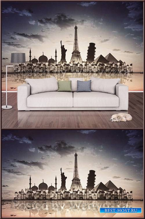 3D psd background wall night city