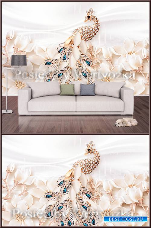 3D psd background wall Golden Peacock with jewels and flowers