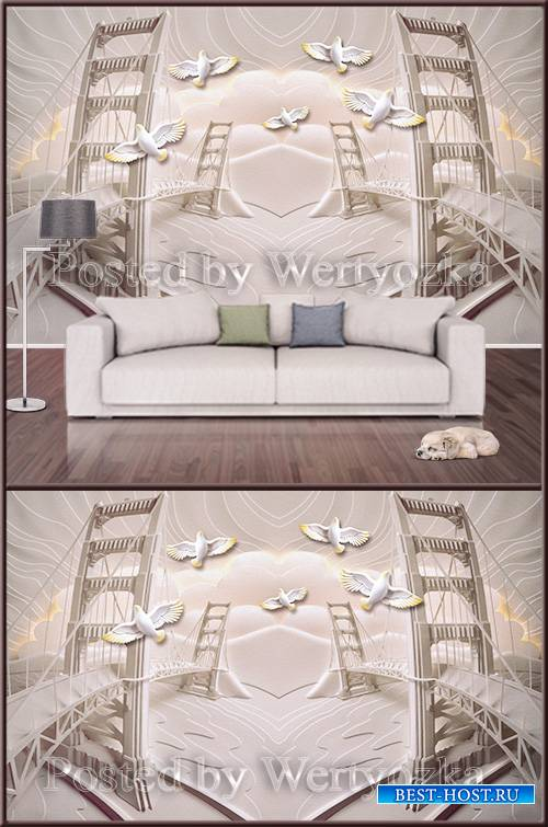3D psd background wall birds over the bridge