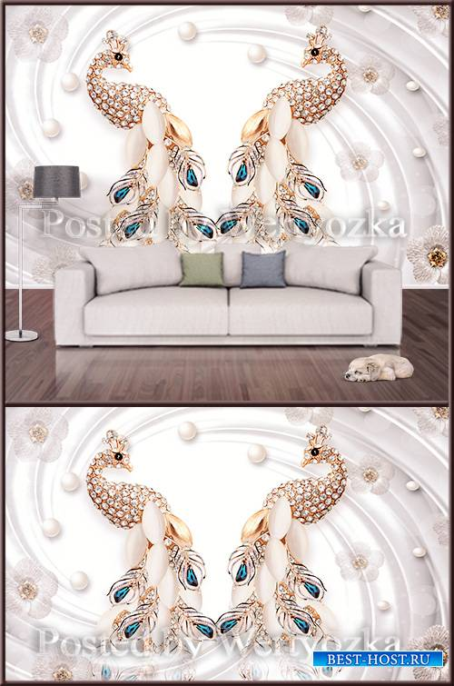 3D psd background wall peacocks flowers and pearls
