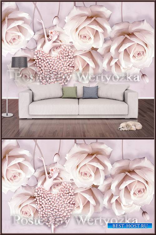 3D psd background wall creative dancer and pink rose