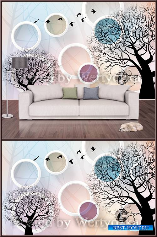 3D psd background wall trees and circles