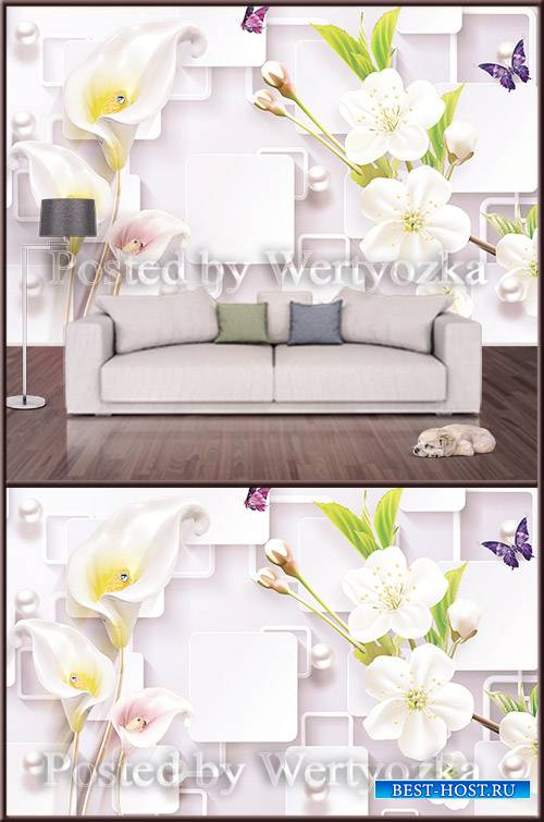 3D psd background wall calla spring flowers