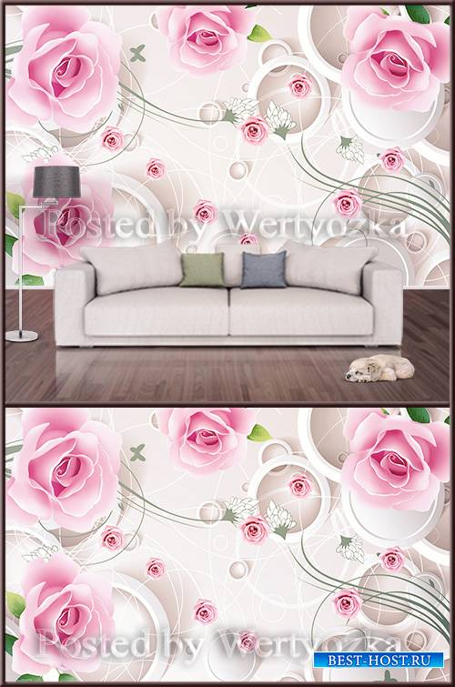 3D psd background wall pink roses abstraction
