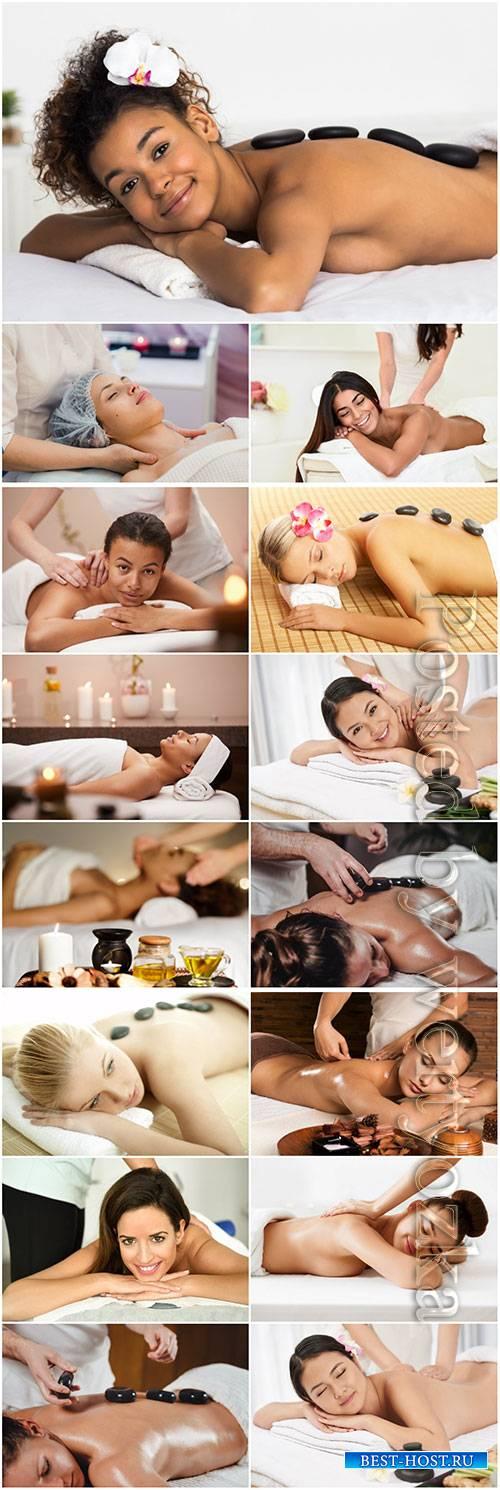 Spa massage, girls beautiful stock photo