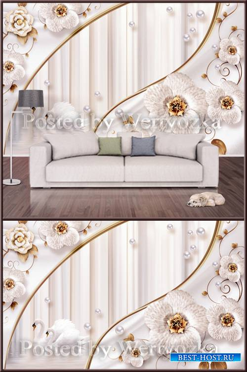3D psd background wall white swans flowers and pearls