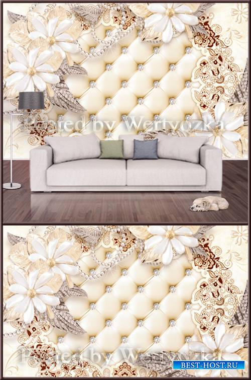 3D psd background wall jewelry flower