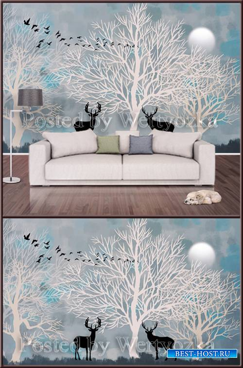 3D psd background wall hand drawn forest moose