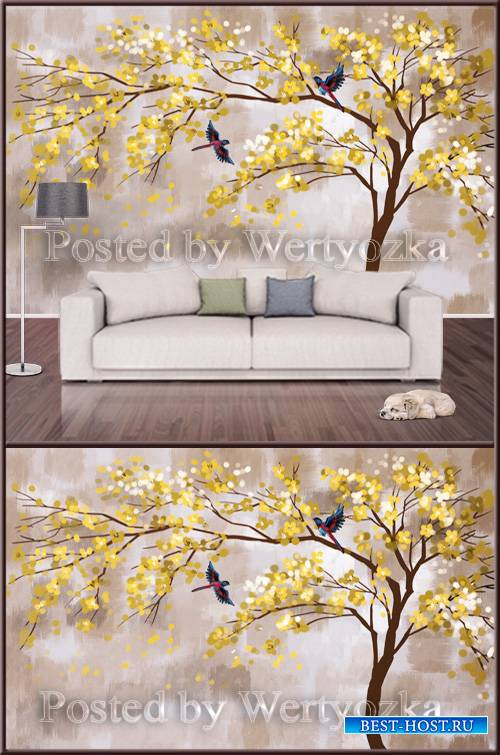 3D psd background wall yellow bird tree