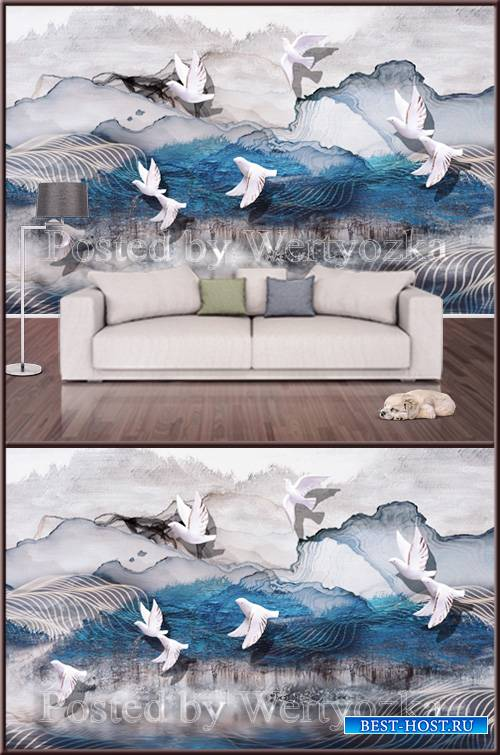 3D psd background wall pigeons