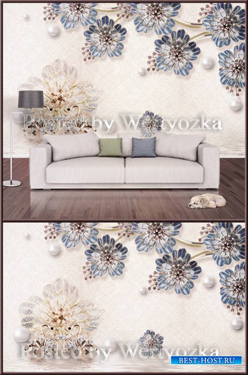 3D psd background wall precious swans blue flowers