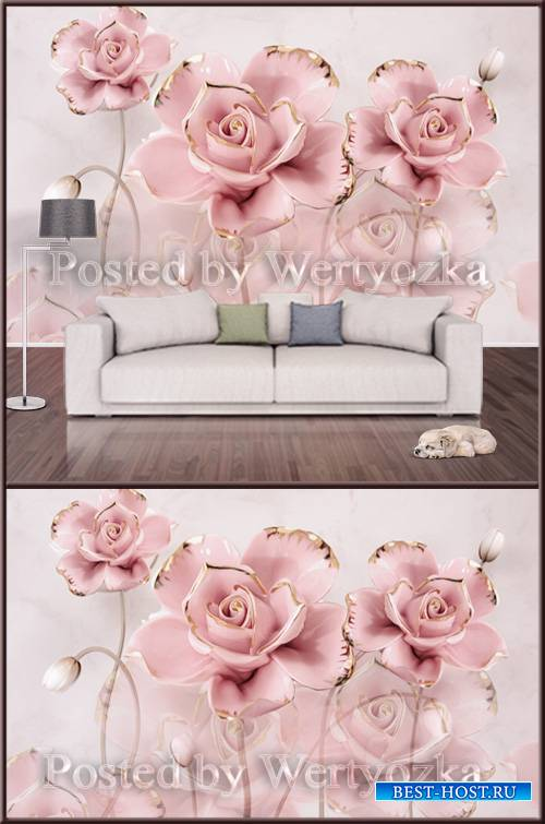 3D psd background wall hibiscus flower