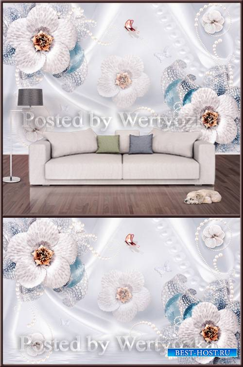 3D psd background wall flowers pearl decor