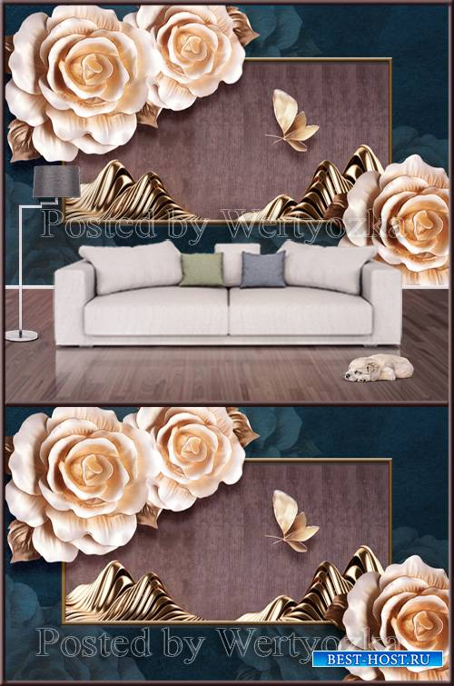 3D psd background wall butterfly flowers