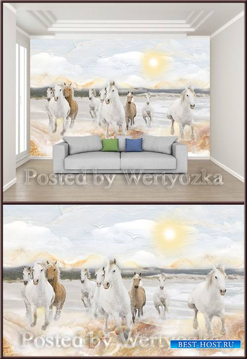 3D psd background wall water horses